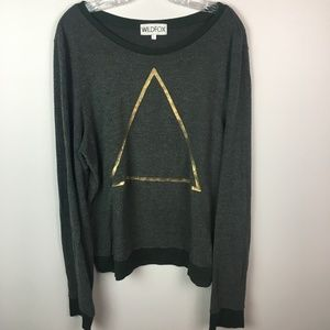 Wildfox olive green sweatshirt graphic gold L